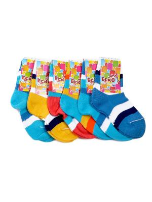 Носки, 6 пар ЕСКО. Цвет: синий, бирюзовый, оранжевый, желтый