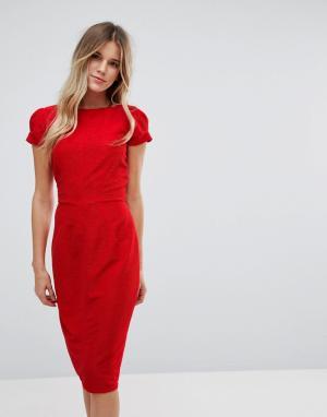 Closet London Плиссированное платье-футляр. Цвет: красный