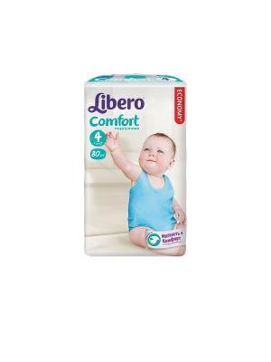Libero Подгузники детские Комфорт макси 7-14кг 80шт упаковка мега плюс. Цвет: белый