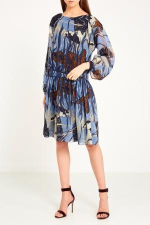 Принтованное платье с поясом Gucci. Цвет: multicolor