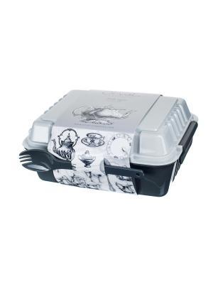 Ланчбокс 960 мл из двух контейнеров с вилкой и ложкой,  Винтаж Orval. Цвет: черный, белый