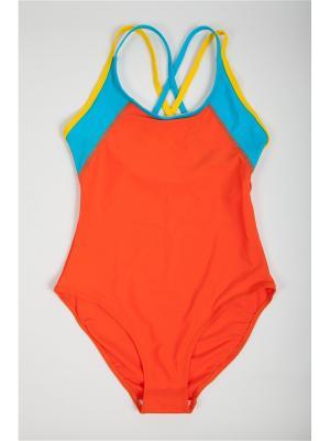 Купальник детский для девочек La Pastel. Цвет: оранжевый, желтый, бирюзовый