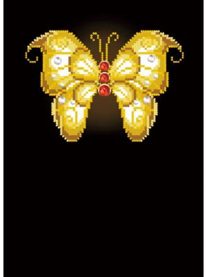 Алмазная мозаика Бабочка на черном фоне с красными камнями Цветной. Цвет: белый
