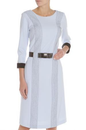 Полуприлегающее платье с ремнем Evita. Цвет: light blue, голубой