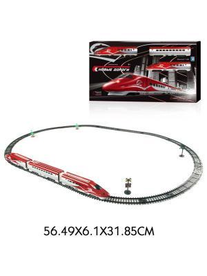 Железная дорога Супер Экспресс,свет,звук,паровоз,2 вагона,63 детали, пути 139х93, движ. вперед/назад 1Toy. Цвет: серый