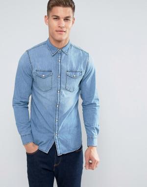 Jack & Jones Джинсовая рубашка. Цвет: синий