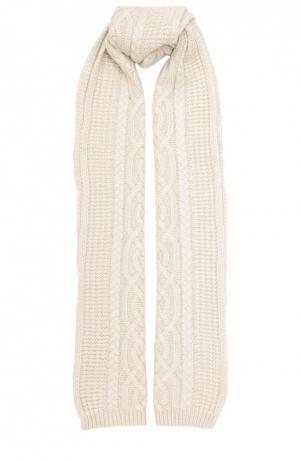 Кашемировый шарф фактурной вязки Johnstons Of Elgin. Цвет: светло-бежевый