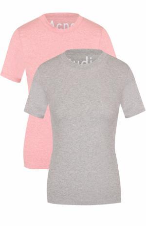 Комплект из двух футболок с логотипом бренда Acne Studios. Цвет: разноцветный