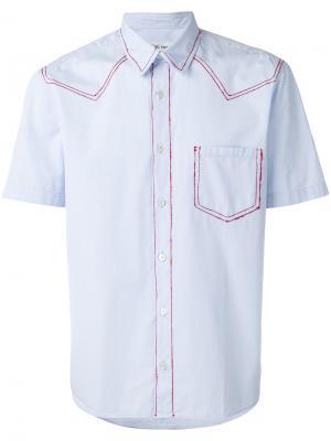 Рубашка с красной строчкой Jimi Roos. Цвет: синий