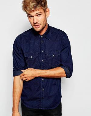 Pepe Jeans Темно-синяя джинсовая рубашка слим в горошек стиле вестерн Cars. Цвет: синий