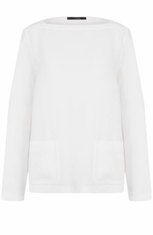 Блуза с вырезом-лодочка накладными карманами Windsor. Цвет: белый