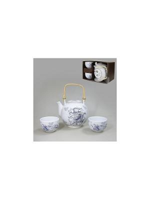 Набор для чаепития СИНИЙ ДРАКОН 3 пр. SAGURO. Цвет: белый