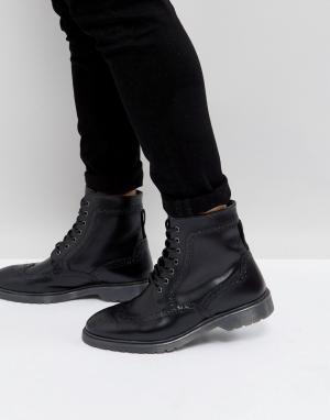 ASOS Черные кожаные броги с рифленой подошвой. Цвет: черный