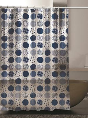 Штора для ванной комнаты 180х200 100% ПВХ IQ-SPA. Цвет: синий