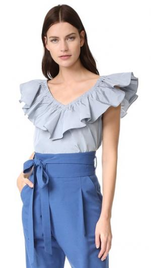 Блуза с оборками Rebecca Taylor. Цвет: ледяной