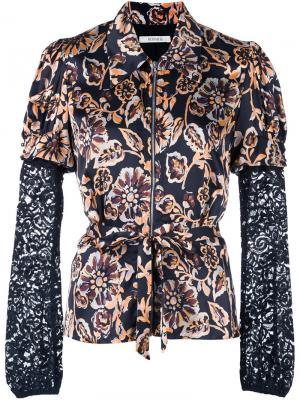 Приталенная рубашка с цветочным рисунком Rodarte. Цвет: чёрный