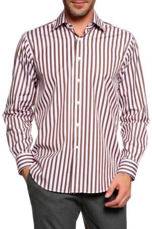 Рубашка Dormeuil. Цвет: розовый, коричневый