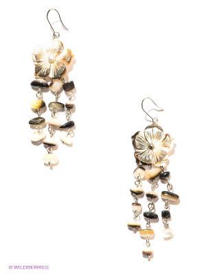 Серьги Infiniti. Цвет: бежевый, коричневый