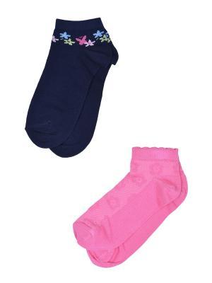 Носки, 2 пары Skinija. Цвет: синий, розовый