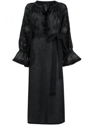 Платье макси с вышивкой Vita Kin. Цвет: синий