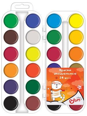 Краски 24 цвета акварельные медовые BOOM.. Цвет: оранжевый