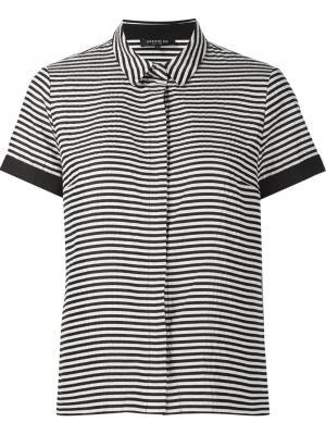 Полосатая рубашка с короткими рукавами Lafayette 148. Цвет: чёрный