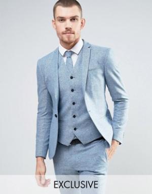 Noak Супероблегающий шерстяной пиджак в крапинку. Цвет: синий
