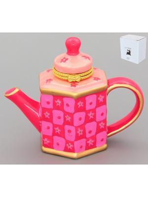 Шкатулка - сувенир Розовый чайник Elan Gallery. Цвет: розовый