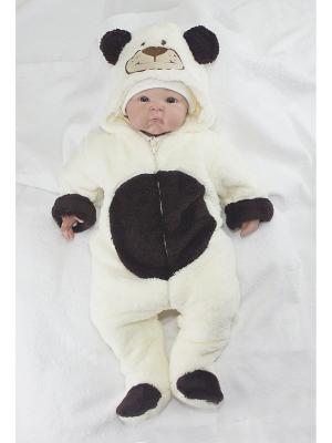 Комбинезон Мишка Пушистик цвет: молочный с коричневым (велсофт на подкладе) ОСЬМИНОЖКА. Цвет: темно-коричневый, молочный