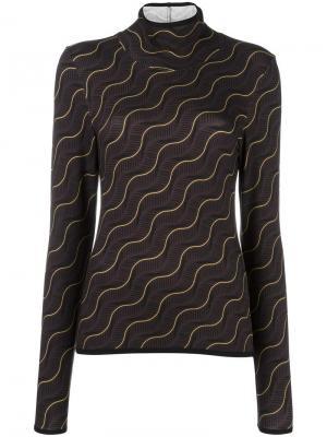 Пуловер с узором Aalto. Цвет: коричневый