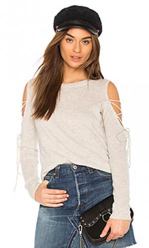 Open laced sweater White + Warren. Цвет: серый