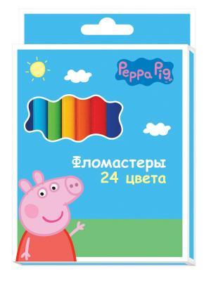 Фломастеры  Свинка Пеппа 24 цвета Peppa Pig. Цвет: розовый, зеленый, голубой