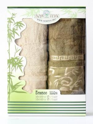Набор махровых полотенец бамбук Домтекс. Цвет: молочный, оливковый