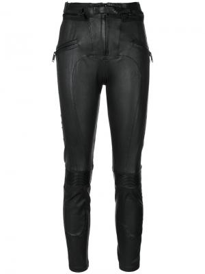 Байкерские брюки со вставками Unravel Project. Цвет: чёрный