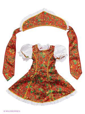 Карнавальный костюм Марьюшка Батик. Цвет: коричневый, персиковый, темно-красный