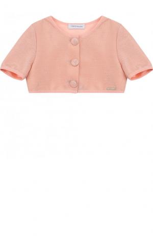 Укороченный жакет на пуговицах с круглым врезом I Pinco Pallino. Цвет: розовый