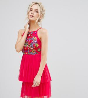 Frock and Frill Petite Короткое приталенное платье с вышивкой и тюлевой юбкой. Цвет: оранжевый