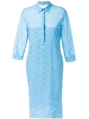 Платье-рубашка из английского кружева Nina Ricci. Цвет: синий
