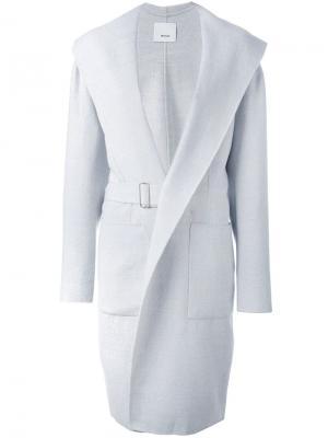 Объемное пальто с поясом и V-образным вырезом 08Sircus. Цвет: серый