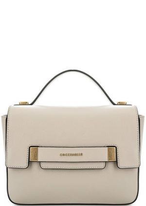 Кожаная сумка с двумя откидными клапанами Coccinelle. Цвет: серый