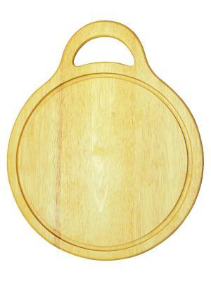Доска разделочная кругл. с желобком Oriental Way. Цвет: темно-бежевый