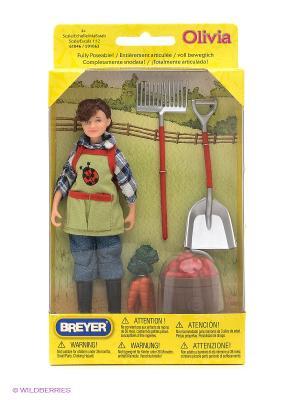 Набор Кукла Оливия с  садовыми аксессуарами Breyer. Цвет: голубой, красный
