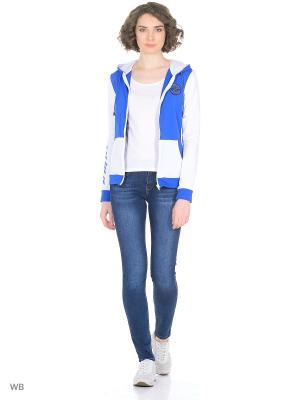 Куртка EMDI. Цвет: голубой, белый