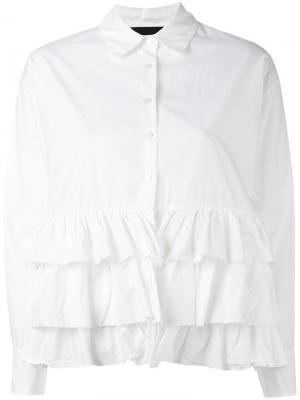 Рубашка с оборками Erika Cavallini. Цвет: белый