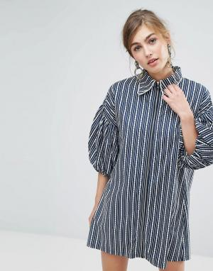 Sister jane Платье-рубашка в полоску с молнией. Цвет: темно-синий