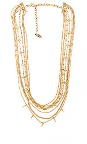 Многослойное ожерелье с шипами Luv AJ. Цвет: металлический золотой