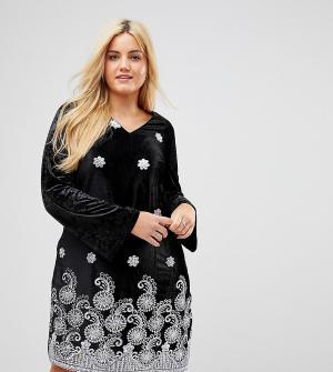 Alice & You Свободное бархатное платье с длинными рукавами и премиум-вышивкой эф. Цвет: черный