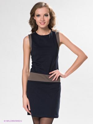 Платье DRS Deerose. Цвет: темно-синий, коричневый