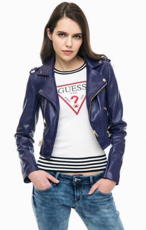 Фиолетовая куртка косуха Guess. Цвет: фиолетовый