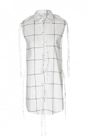 Блуза без рукавов в клетку на шнуровке Damir Doma. Цвет: черно-белый